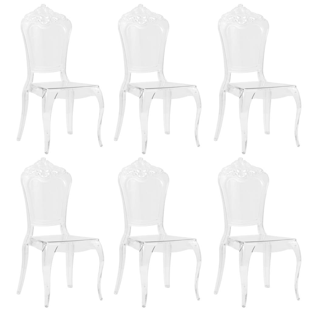 vidaXL Jedálenské stoličky 6 ks, biele, polykarbonát