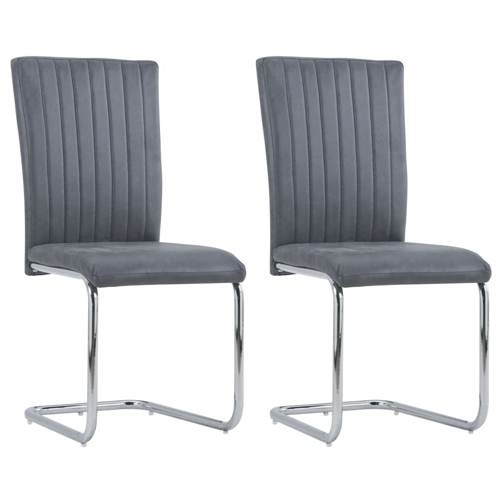 vidaXL Jedálenské stoličky 2 ks, sivé, umelý semiš
