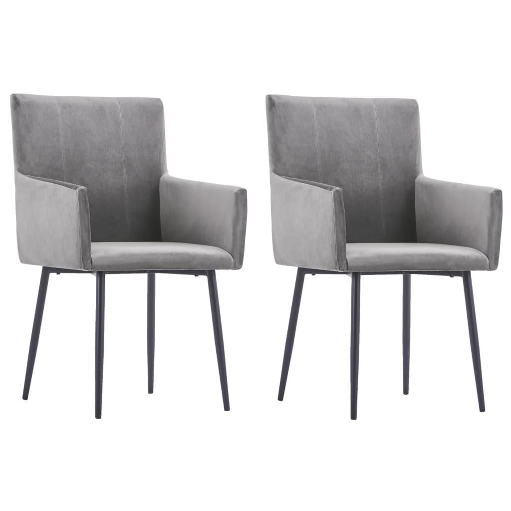 vidaXL Jedálenské stoličky s opierkami 2 ks, sivé, zamat
