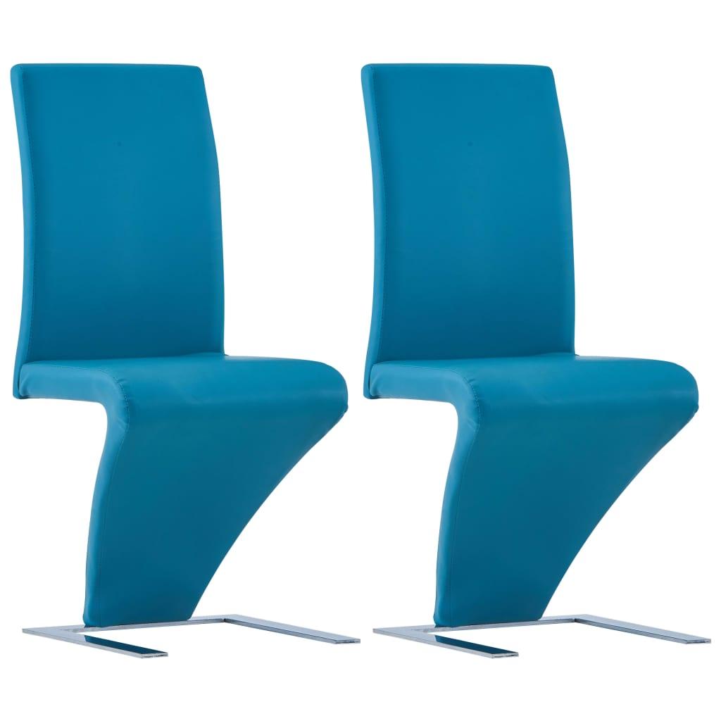 vidaXL Jedálenské stoličky, cikcakový tvar 2 ks, modré, umelá koža