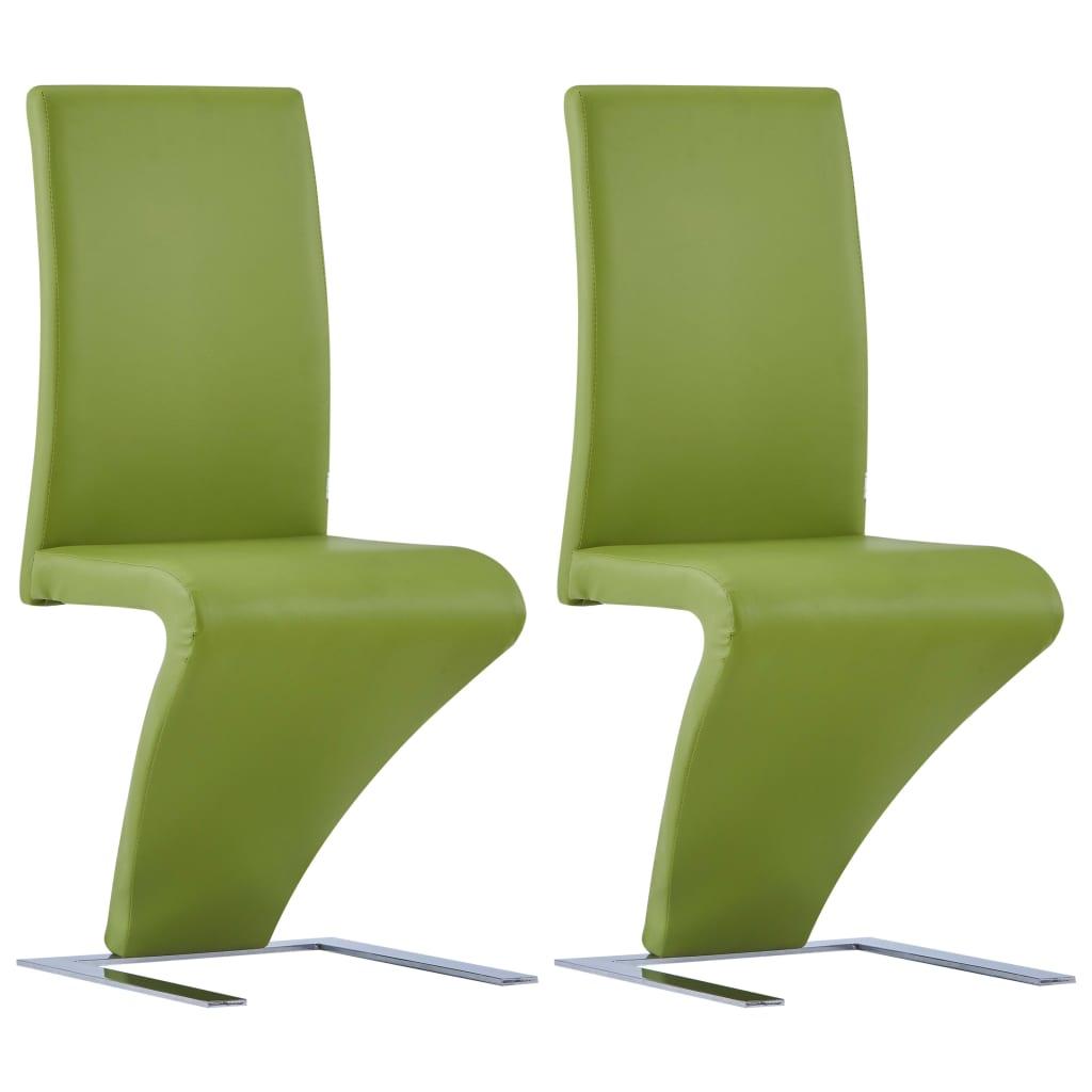 vidaXL Jedálenské stoličky, cikcakový tvar 2 ks, zelené, umelá koža