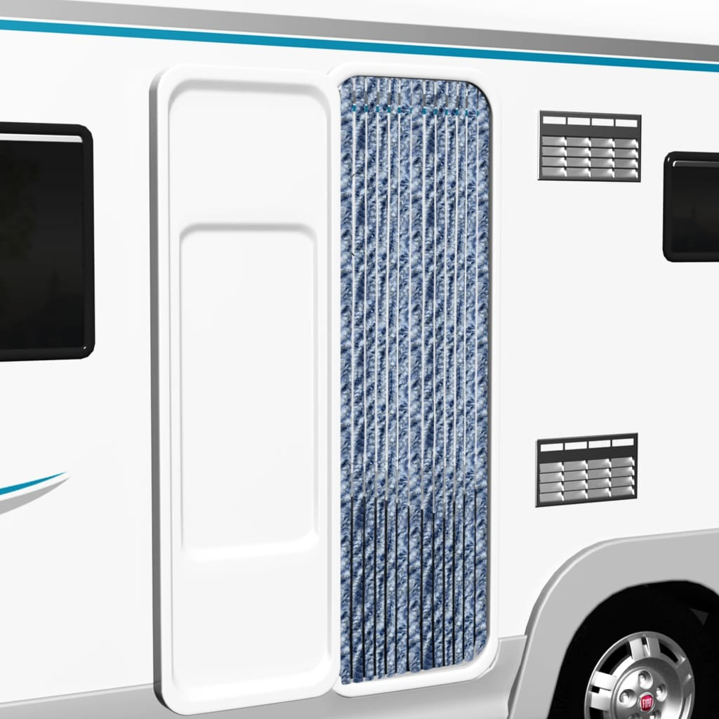 vidaXL Záves proti hmyzu, modrý, biely a strieborný 56x185 cm, ženilka