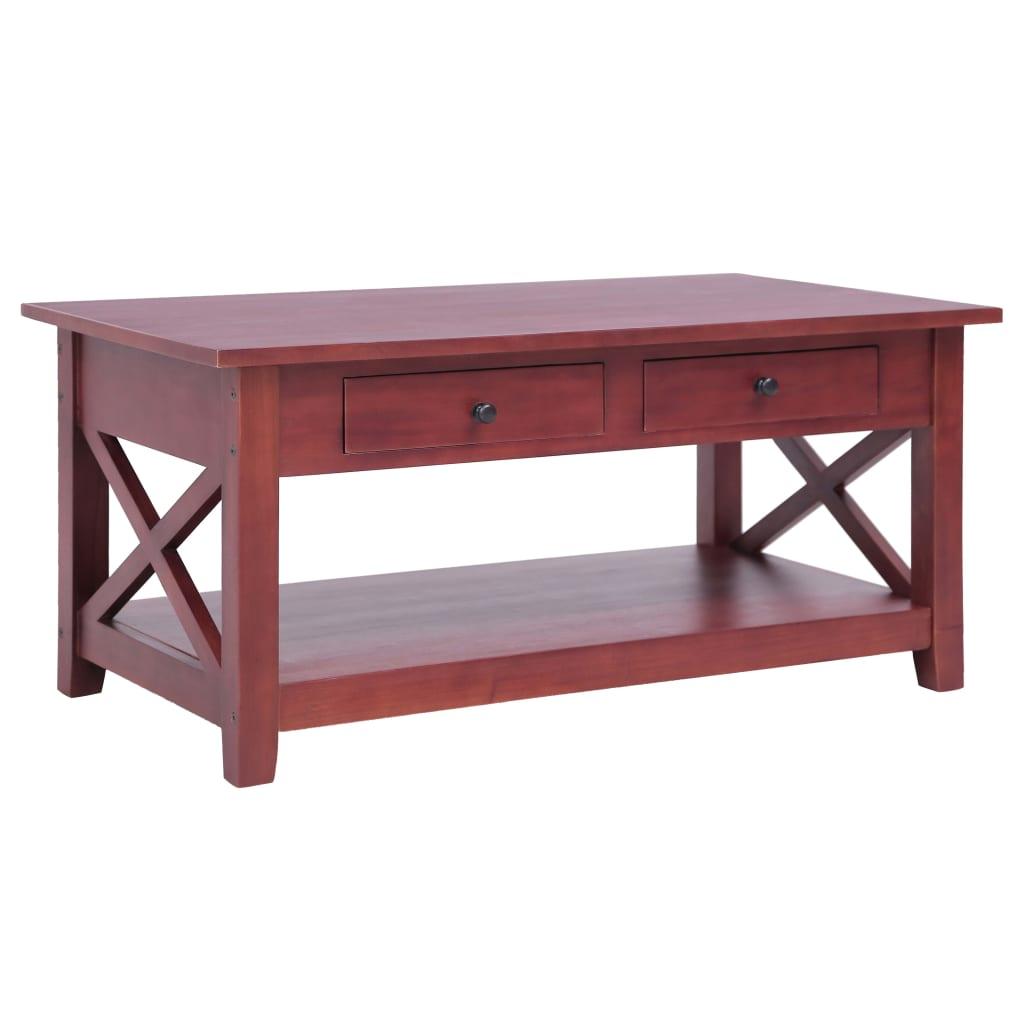 vidaXL Konferenčný stolík hnedý 100x55x46 cm masívne mahagónové drevo