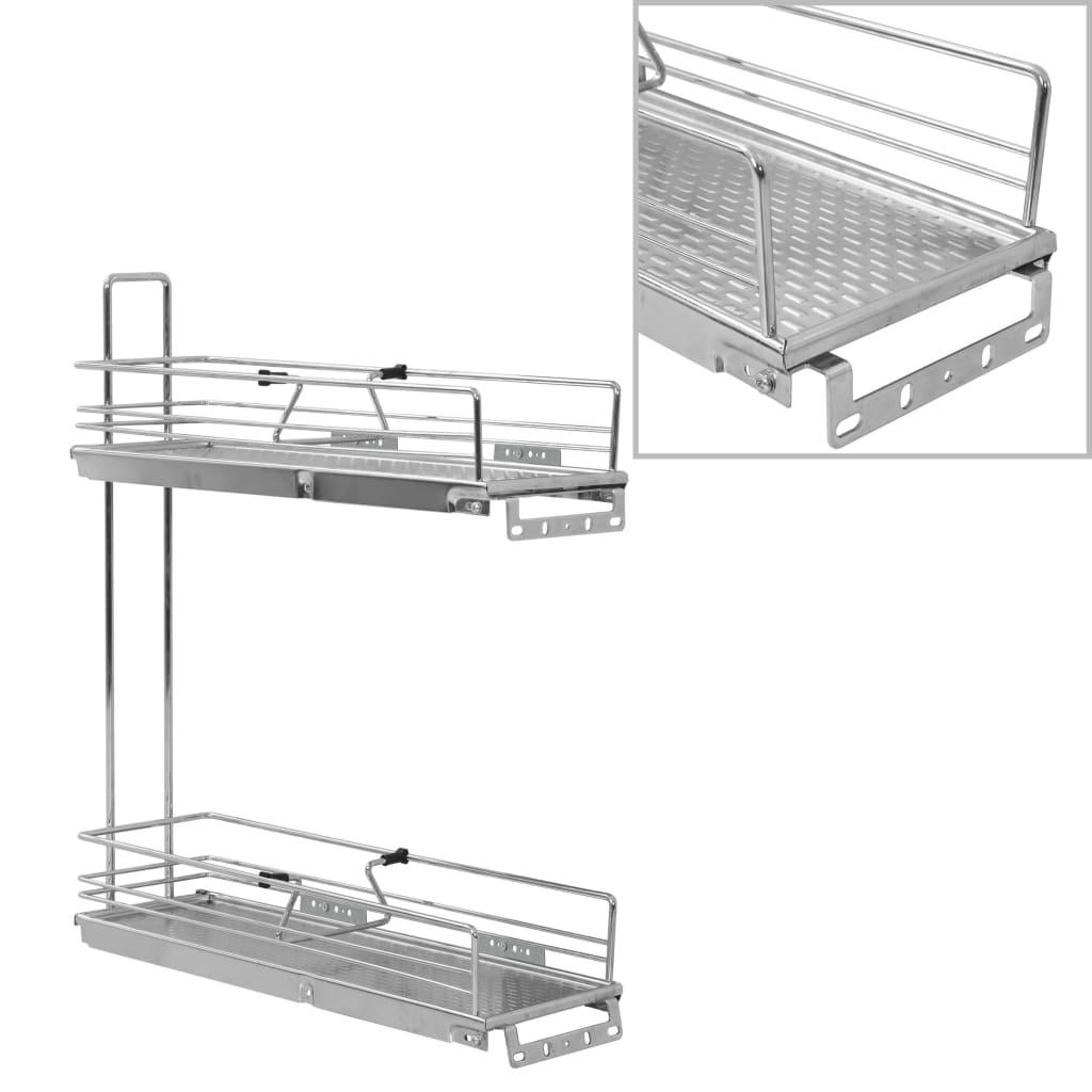 vidaXL 2-dielny drôtený vyťahovací kuchynský kôš strieborný 47x15x54,5 cm