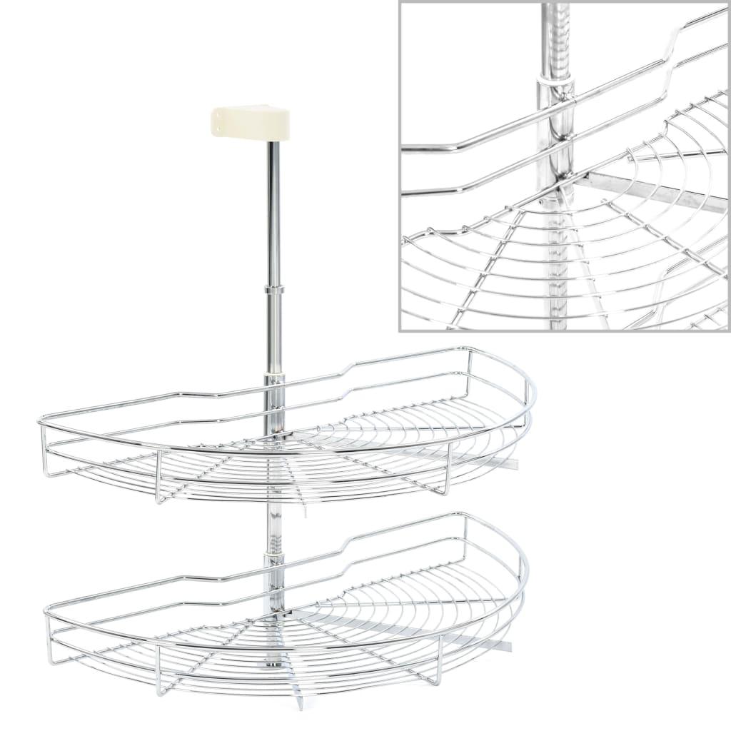 vidaXL 2-pochodový drôtený kuchynský kôš otočný o 180° strieborný 75x38x80 cm