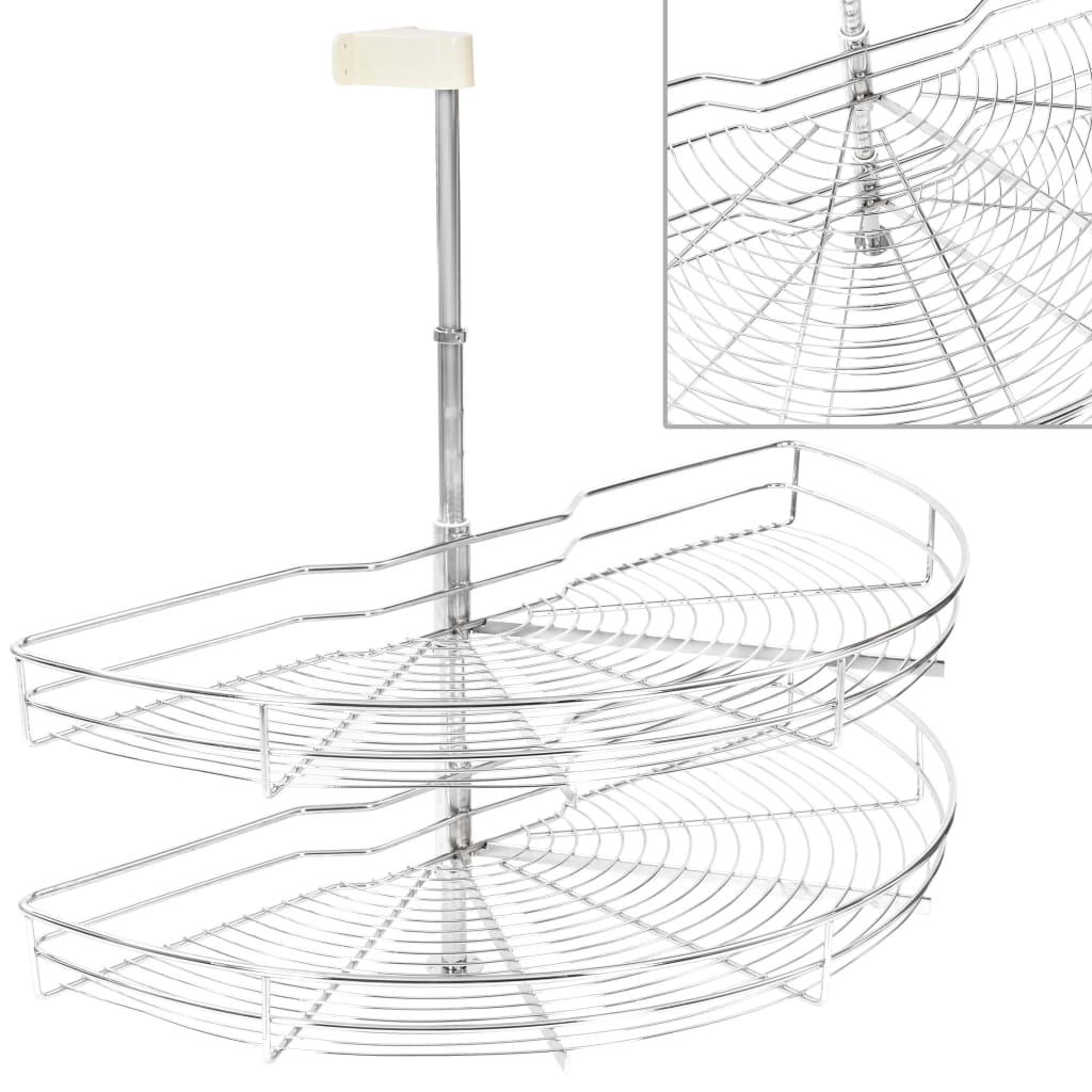 vidaXL 2-pochodový drôtený kuchynský kôš otočný o 180° strieborný 85x44x80 cm