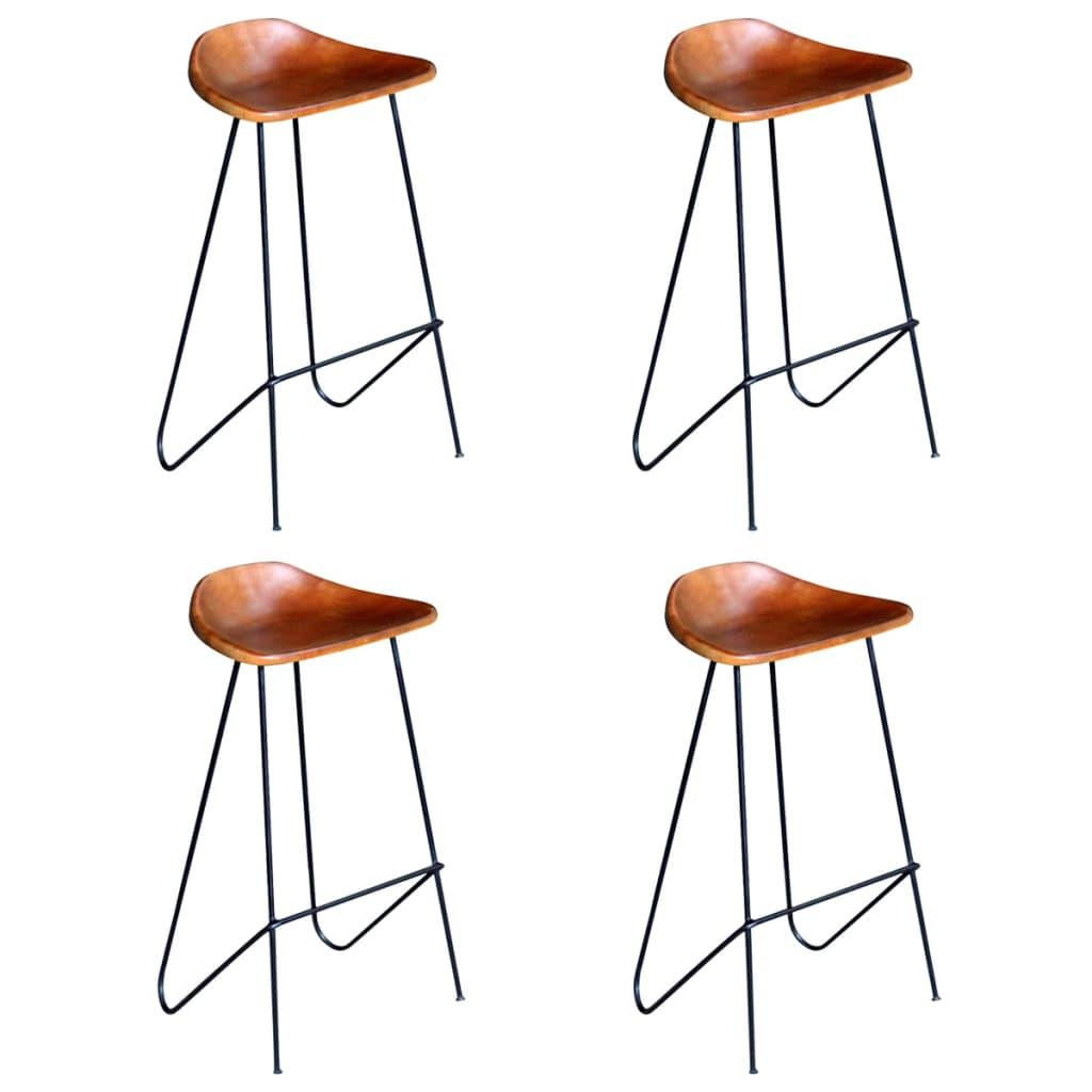 vidaXL Barové stoličky z pravej kože 4 ks hnedé