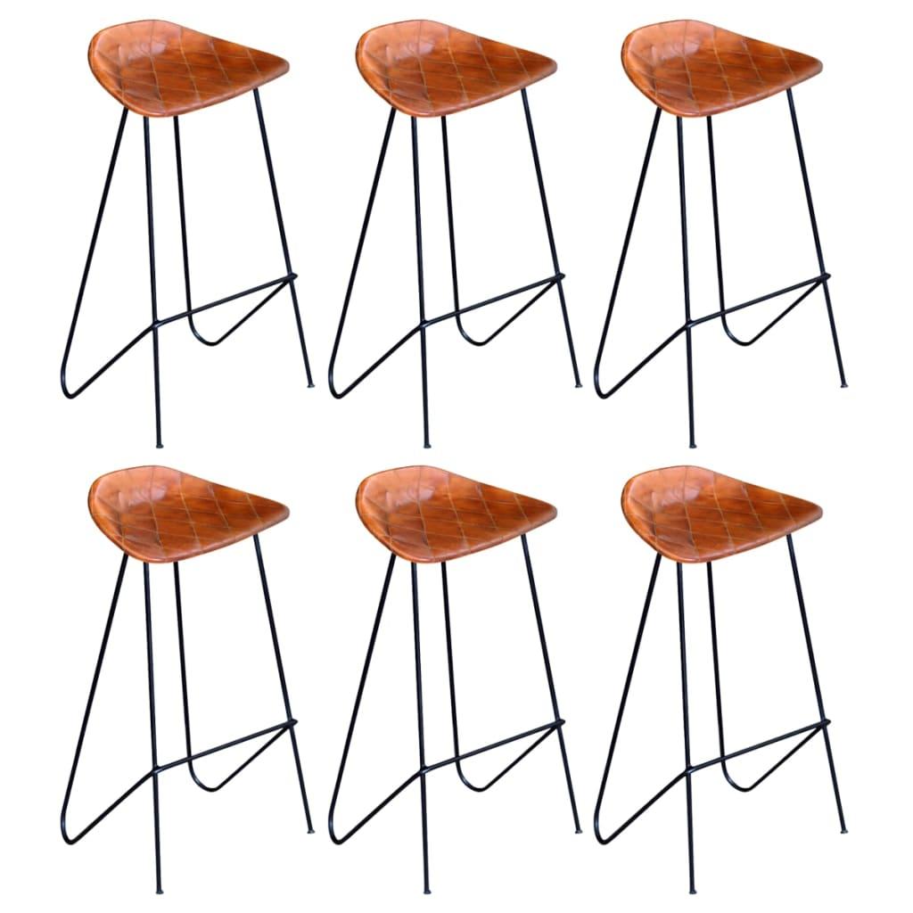 vidaXL Barové stoličky z pravej kože 6 ks hnedé