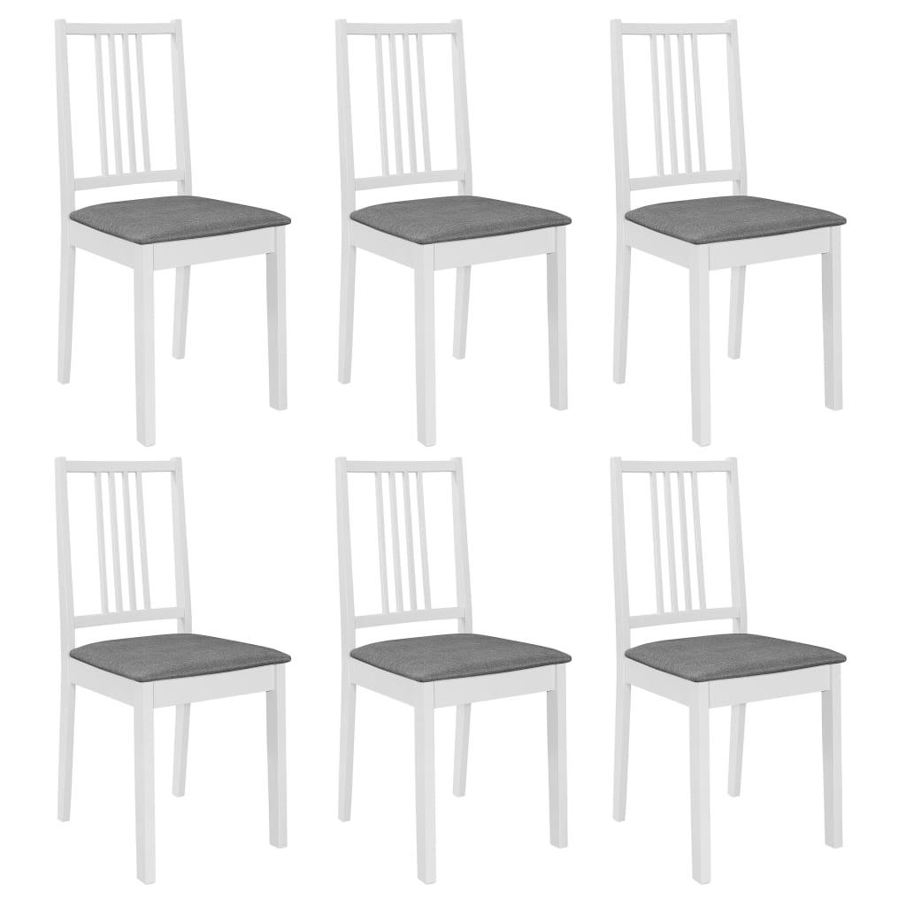 vidaXL Jedálenské stoličky s podložkami 6 ks, biele, drevený masív