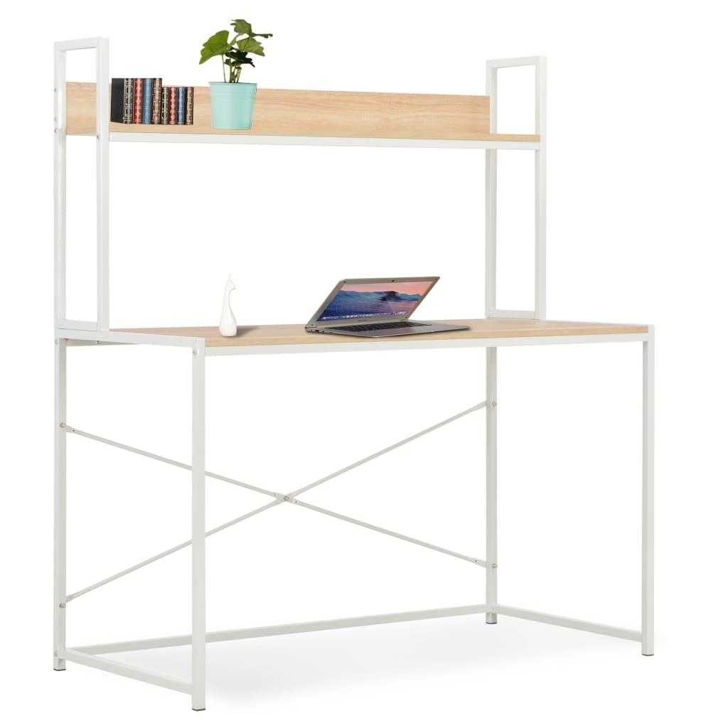 vidaXL Počítačový stôl biely a dubový 120x60x138 cm