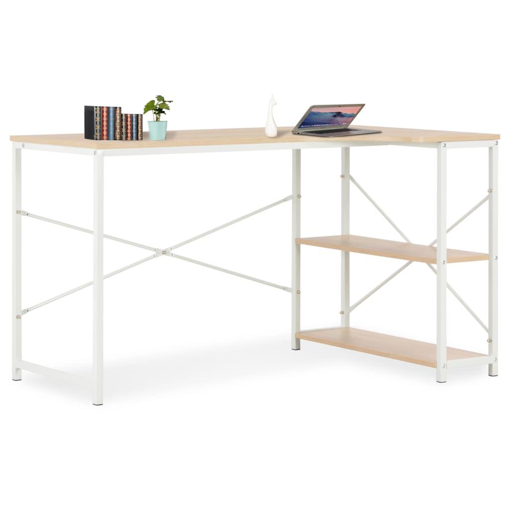 vidaXL Počítačový stôl biely a dubový 120x72x70 cm
