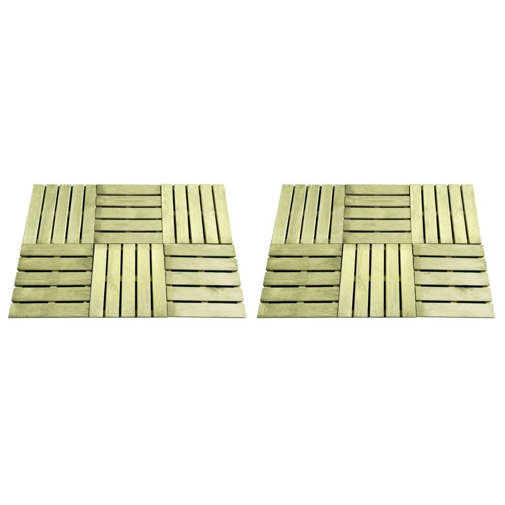 vidaXL Podlahové dlaždice 12 ks, 50x50 cm, drevo, zelené