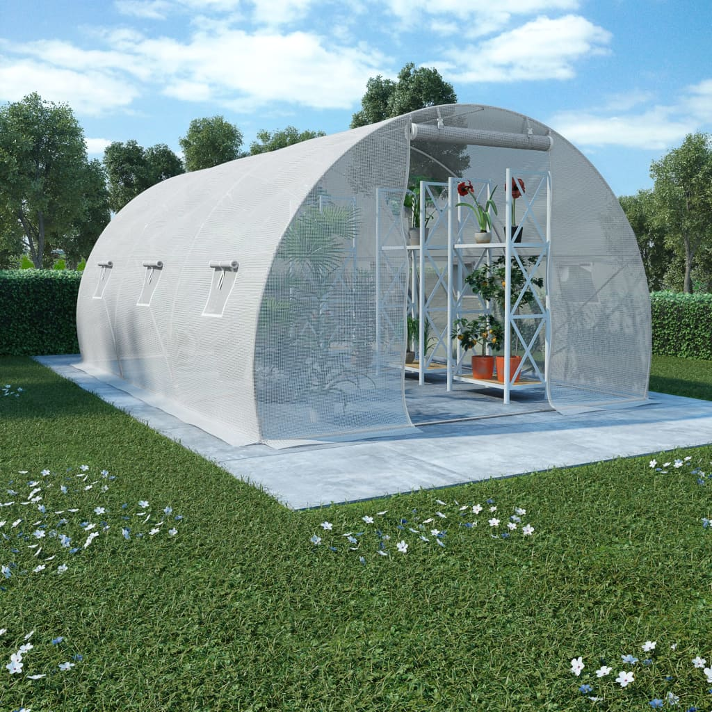 vidaXL Fóliovník s oceľovým základom 13,5 m² 450x300x200 cm