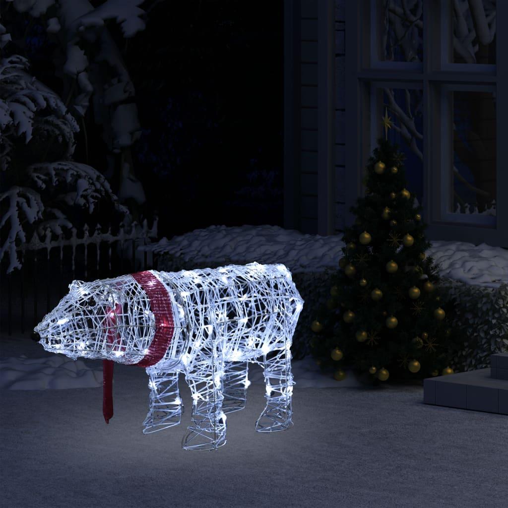vidaXL Svetelná vianočná dekorácia, medveď 45 LED 71x20x38 cm, akryl