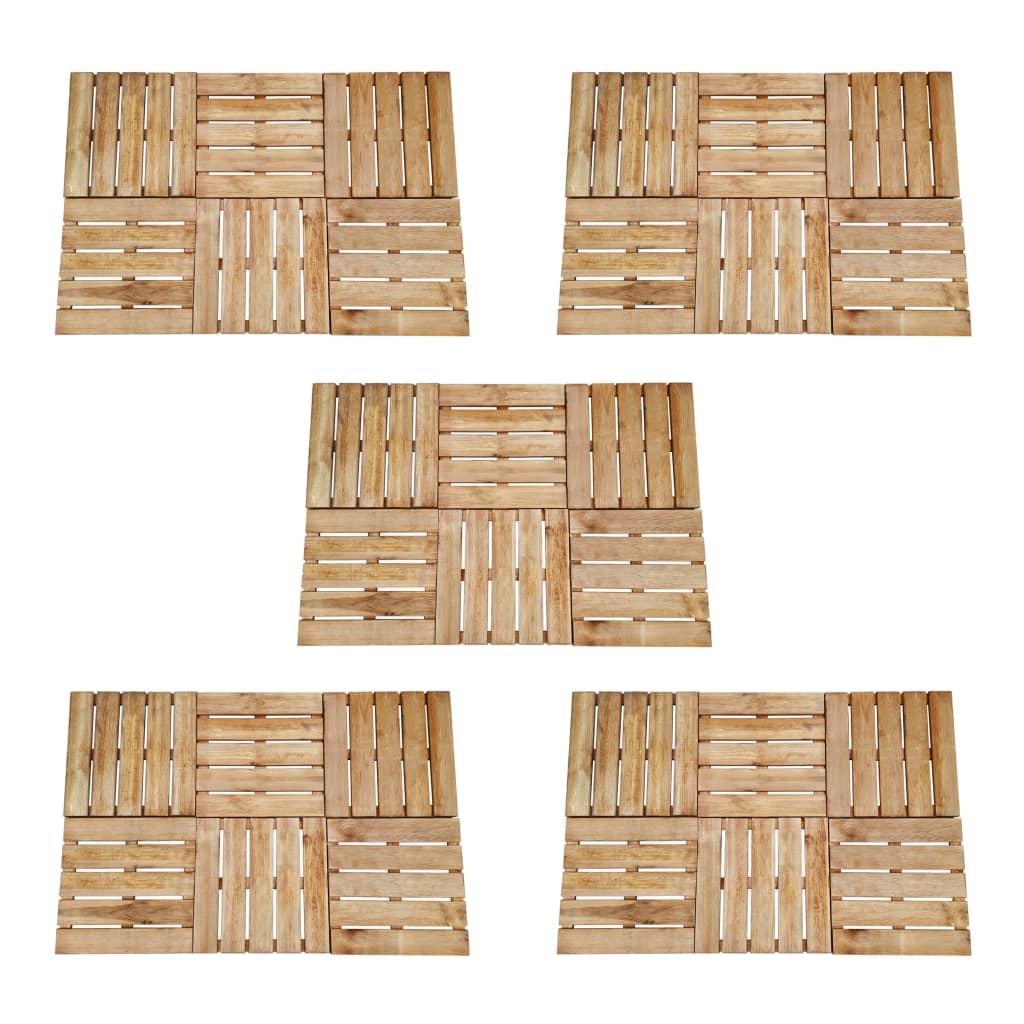 vidaXL Podlahové dlaždice 30 ks, 50x50 cm, FSC drevo, hnedé