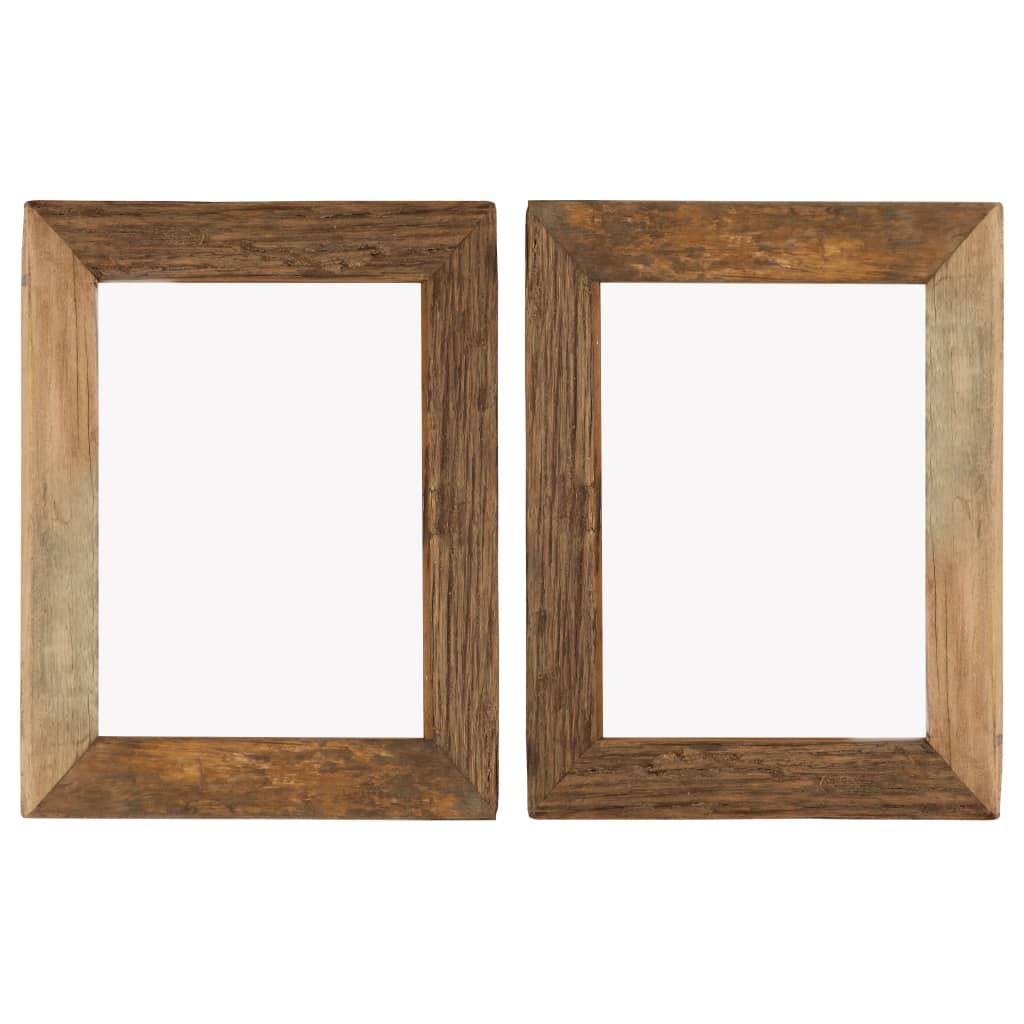 vidaXL Fotorámčeky 2 ks 34x40 cm masívne recyklované drevo a sklo
