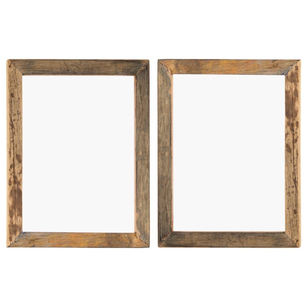 vidaXL Fotorámčeky 2 ks 50x60 cm masívne recyklované drevo a sklo