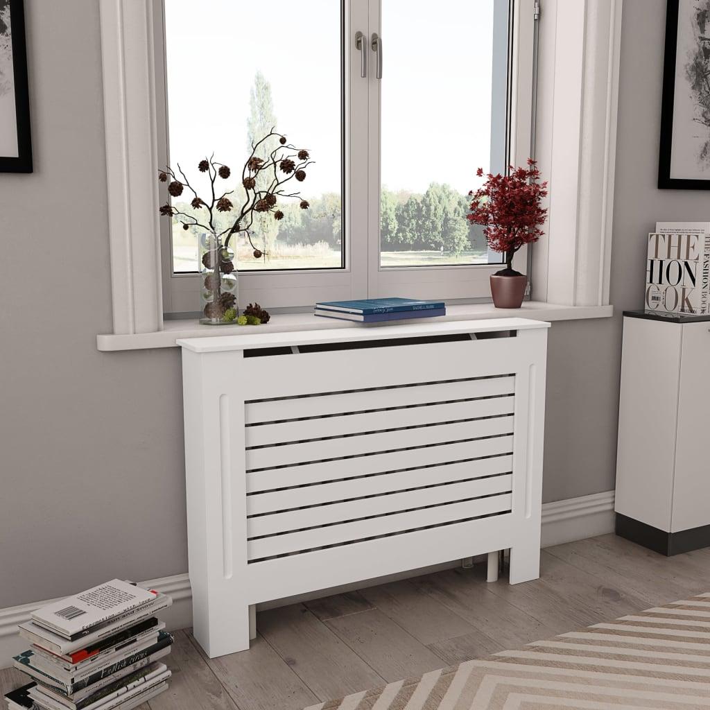 vidaXL Kryt na radiátor, biely 112x19x81,5 cm, MDF