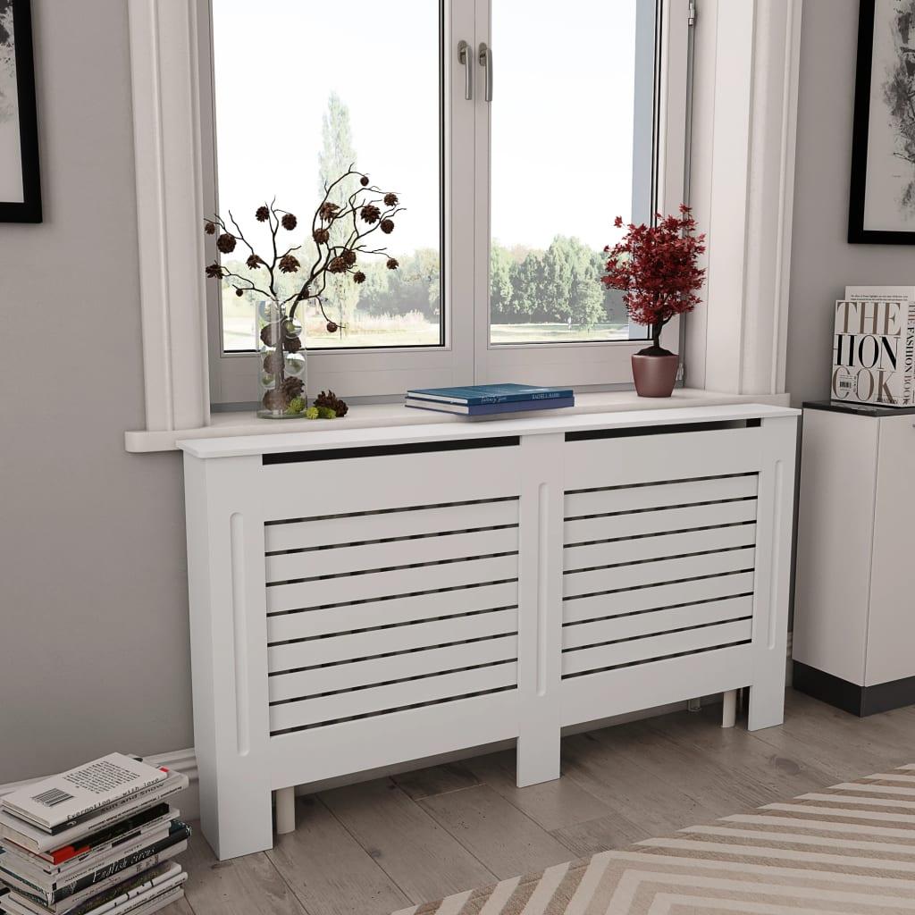 vidaXL Kryt na radiátor, biely 152x19x81,5 cm, MDF