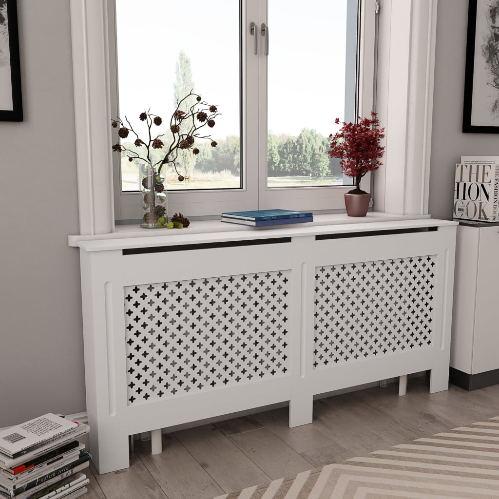 vidaXL Kryt na radiátor, biely 172x19x81,5 cm, MDF