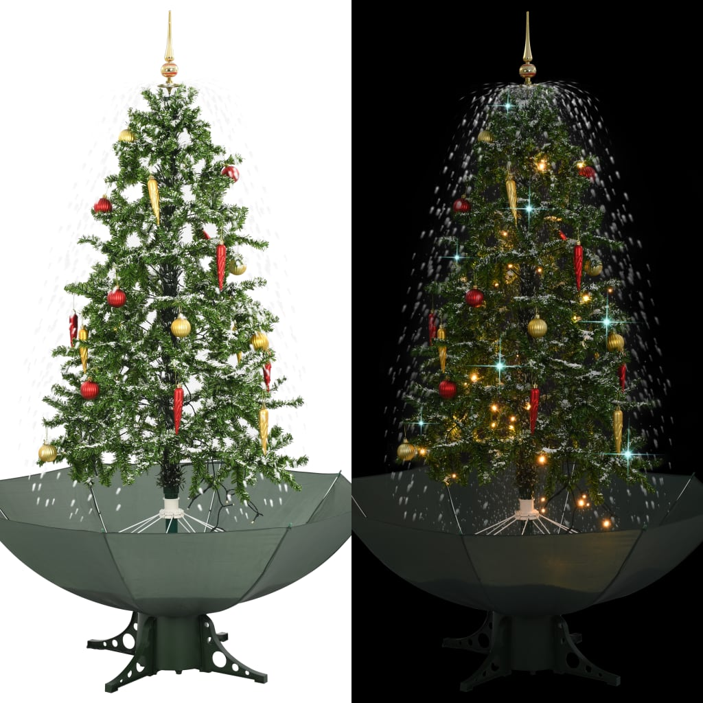vidaXL Snežiaci vianočný stromček dáždnikovým podstavcom  zelený 170 cm