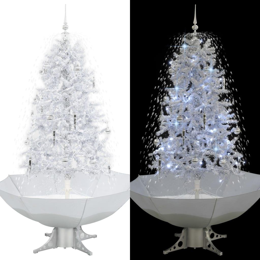 vidaXL Snežiaci vianočný stromček dáždnikovým podstavcom  biely 170 cm
