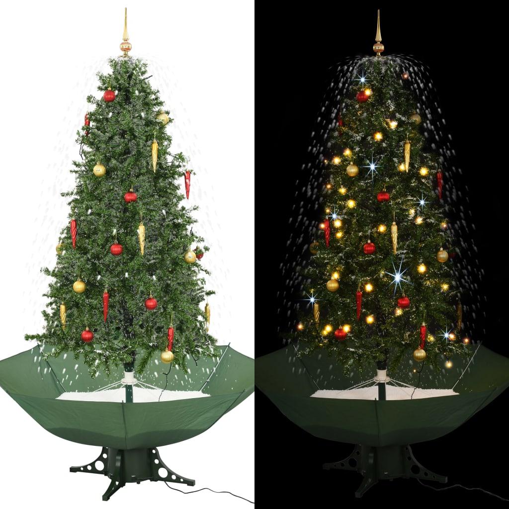 vidaXL Snežiaci vianočný stromček dáždnikovým podstavcom  zelený 190 cm
