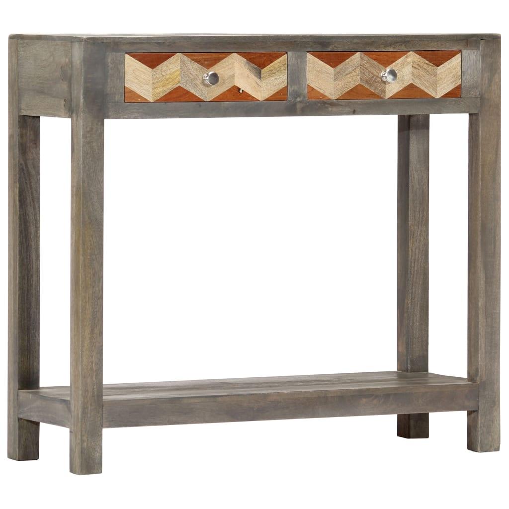 vidaXL Konzolový stolík sivý 86x30x76 cm masívne mangovníkové drevo