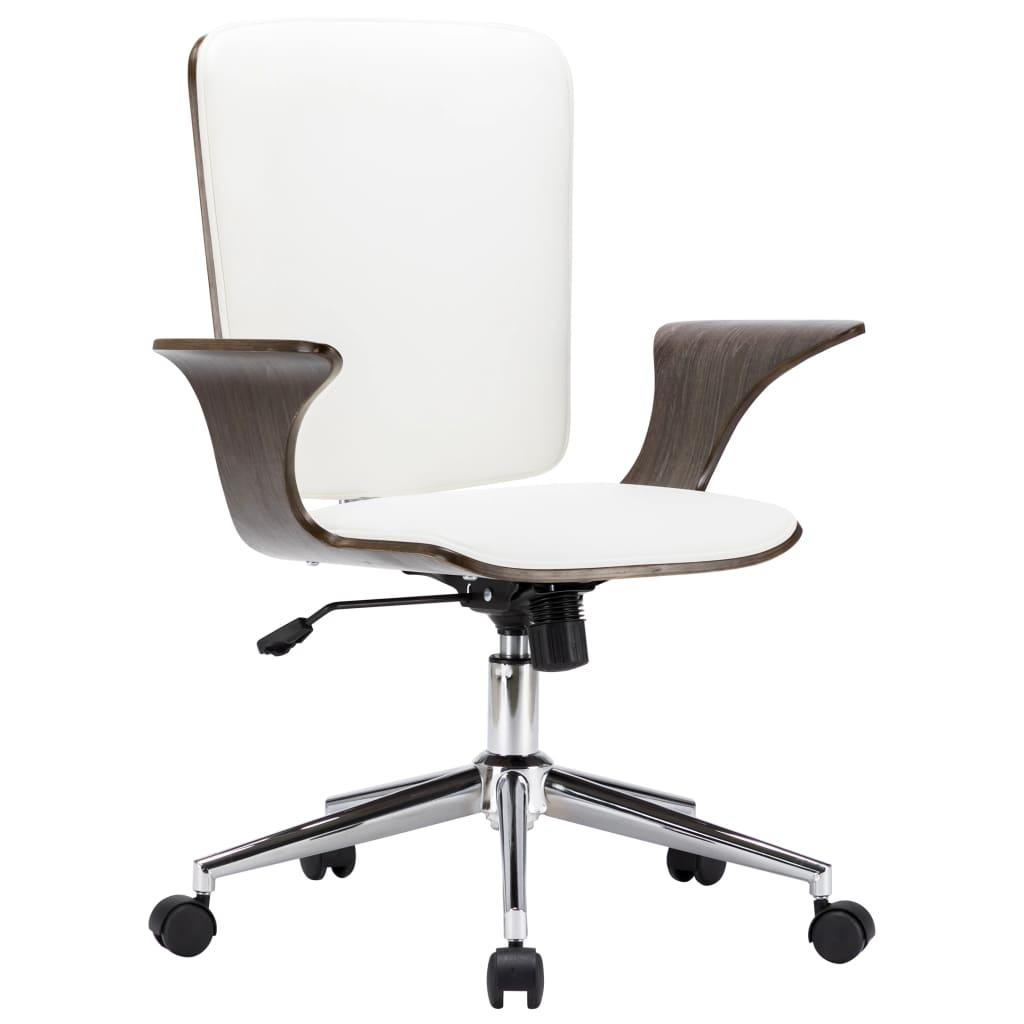 vidaXL Otočná kancelárska stolička biela umelá koža a ohýbané drevo