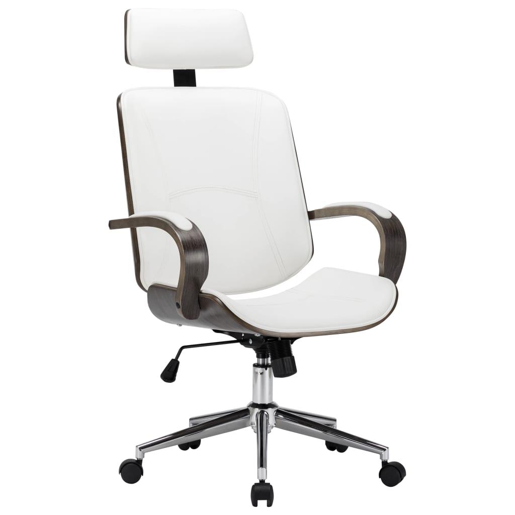 Otočná kancelárska stolička s opierkou hlavy biela umelá koža a ohýbané drevo