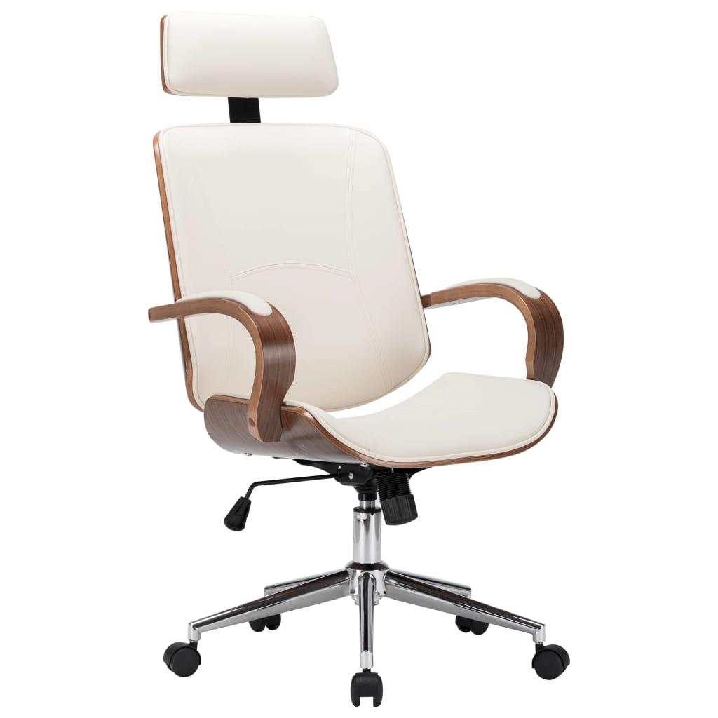 Otočná kancelárska stolička s opierkou hlavy krémová umelá koža a ohýbané drevo