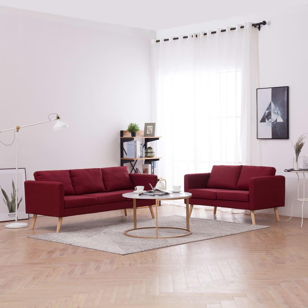 vidaXL Látková 2-dielna sedacia súprava vínovo-červená