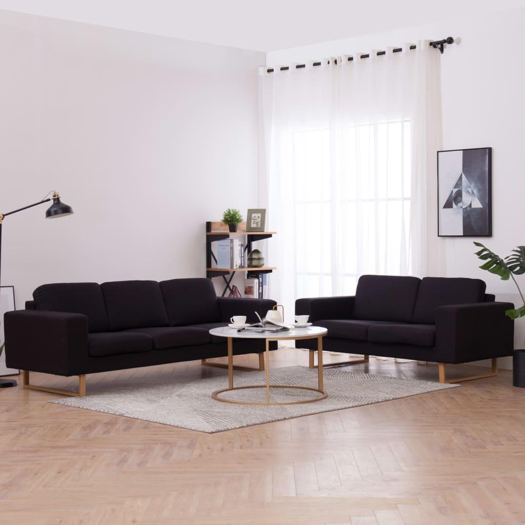 vidaXL Látková 2-dielna sedacia súprava čierna