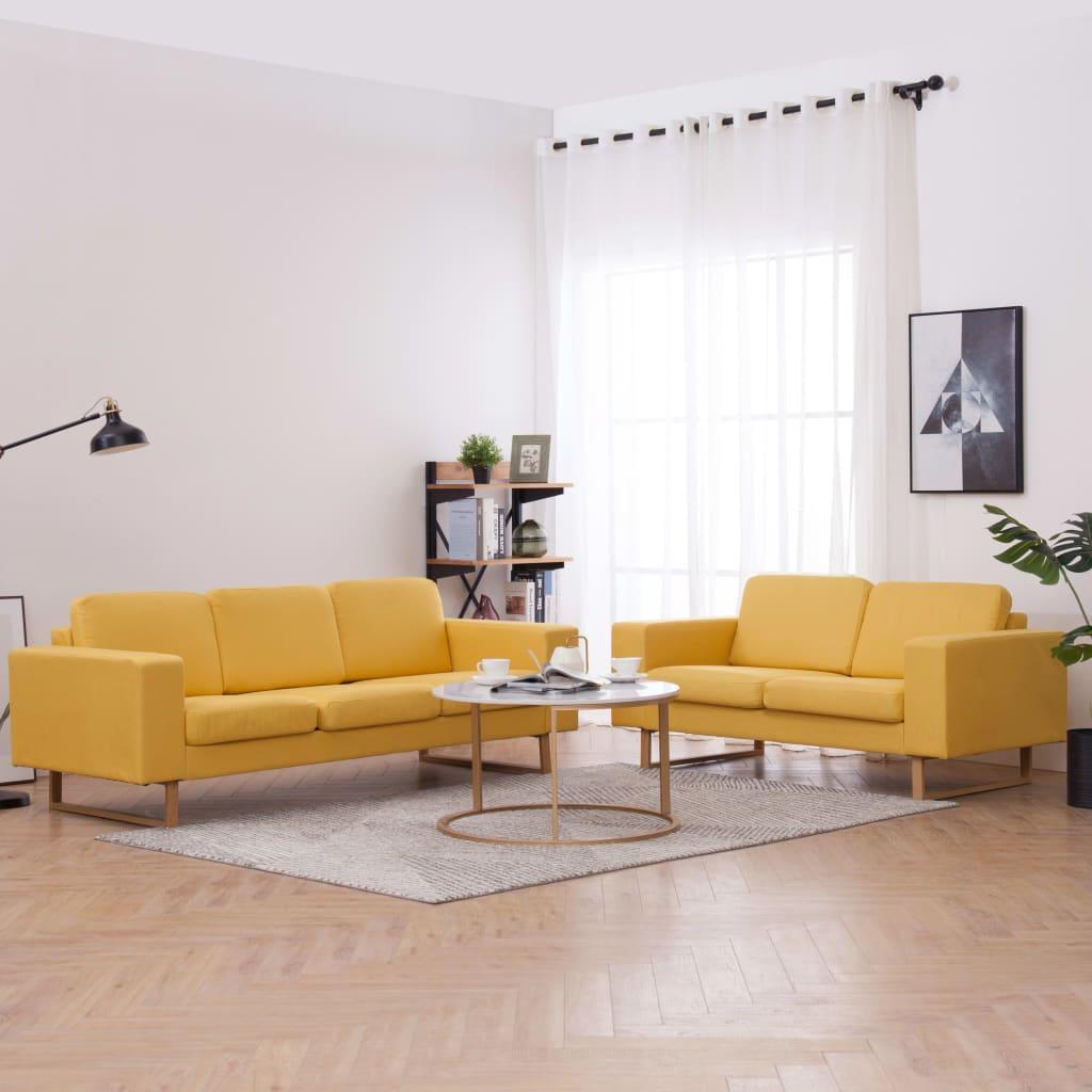 vidaXL Látková 2-dielna sedacia súprava žltá