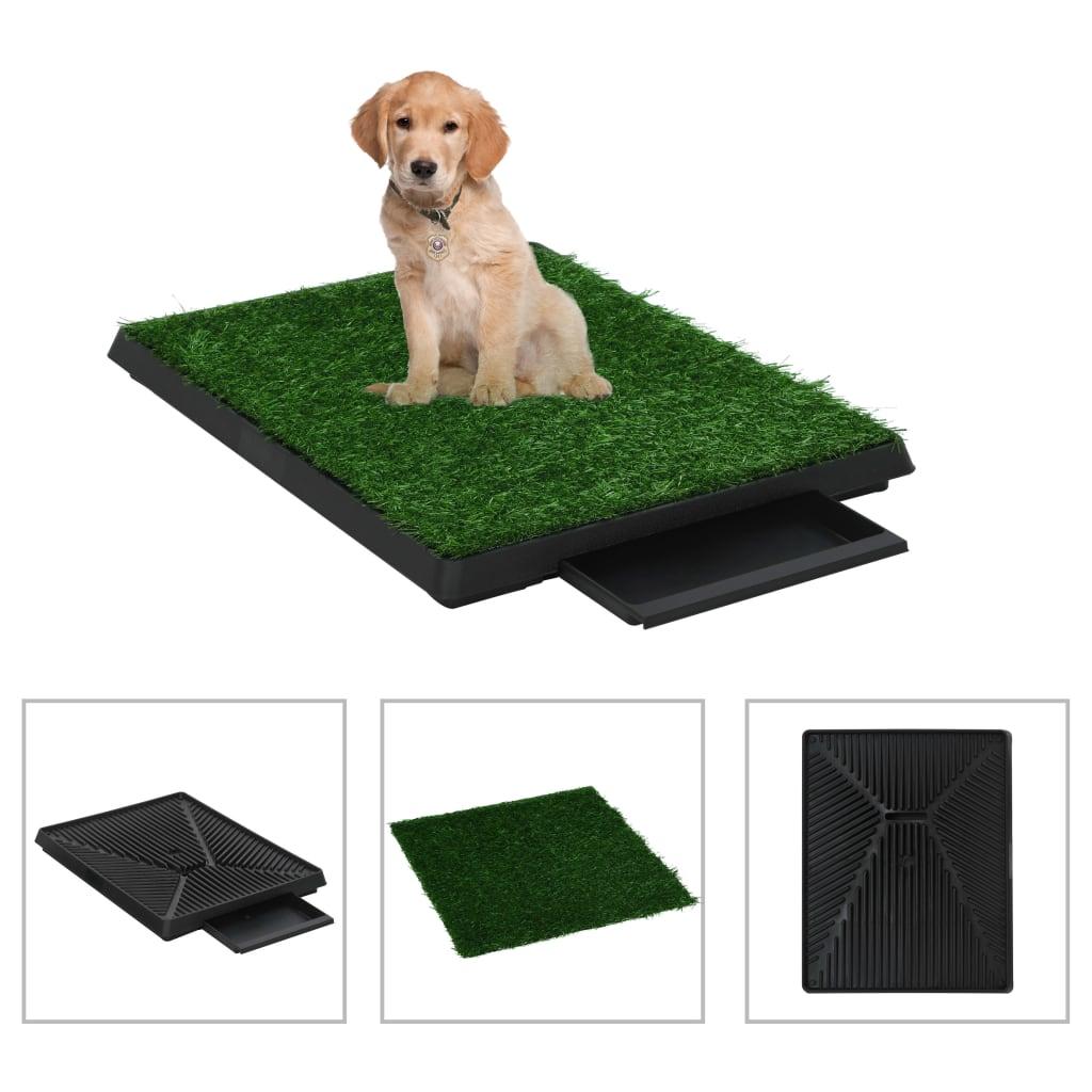 vidaXL Domáca toaleta pre psy 2 ks s podnosom a umelou trávou zelená 63x50x7 cm