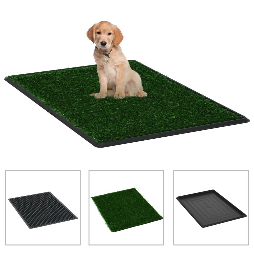 vidaXL Domáca toaleta pre psy s podnosom a umelou trávou zelená 76x51x3 cm