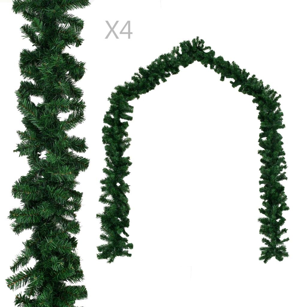 vidaXL Vianočné girlandy 4 ks, zelené 270 cm, PVC