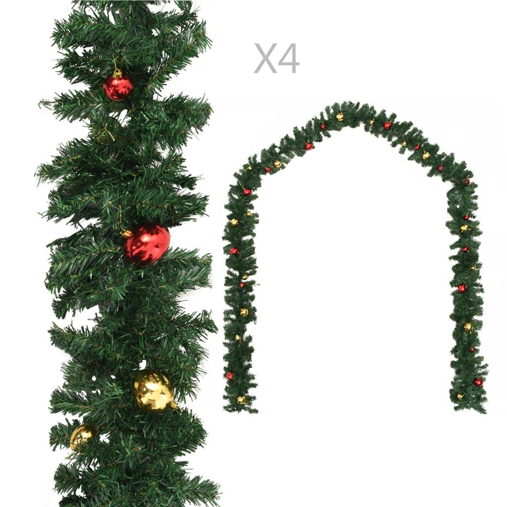 vidaXL Vianočné girlandy 4 ks s guľami zelené 270 cm PVC