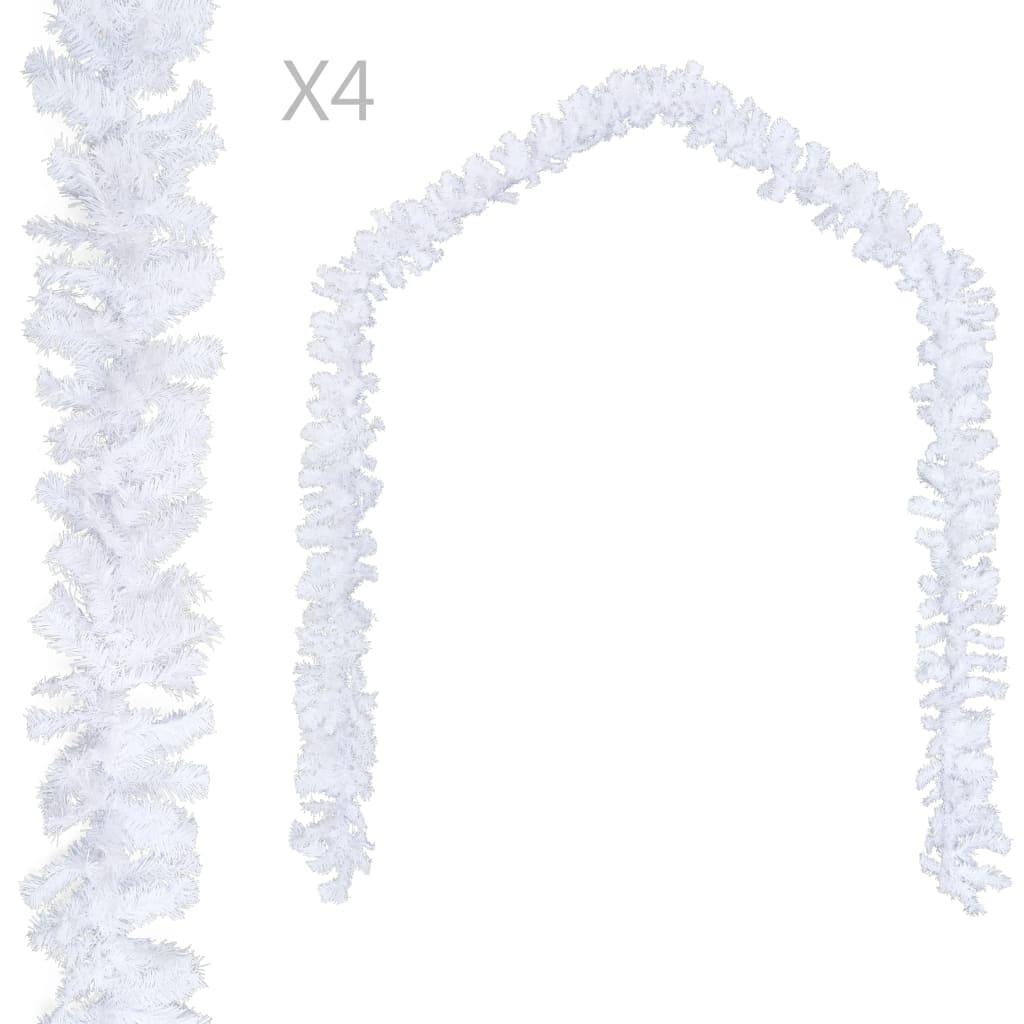 vidaXL Vianočné girlandy 4 ks, biele 270 cm, PVC