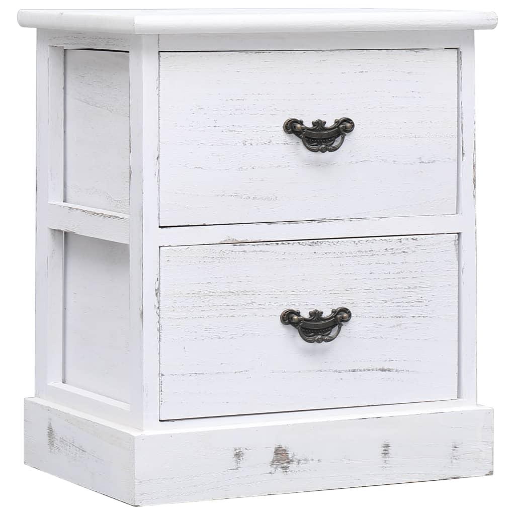 vidaXL Nočný stolík, biely 38x28x45 cm, drevo paulovnie