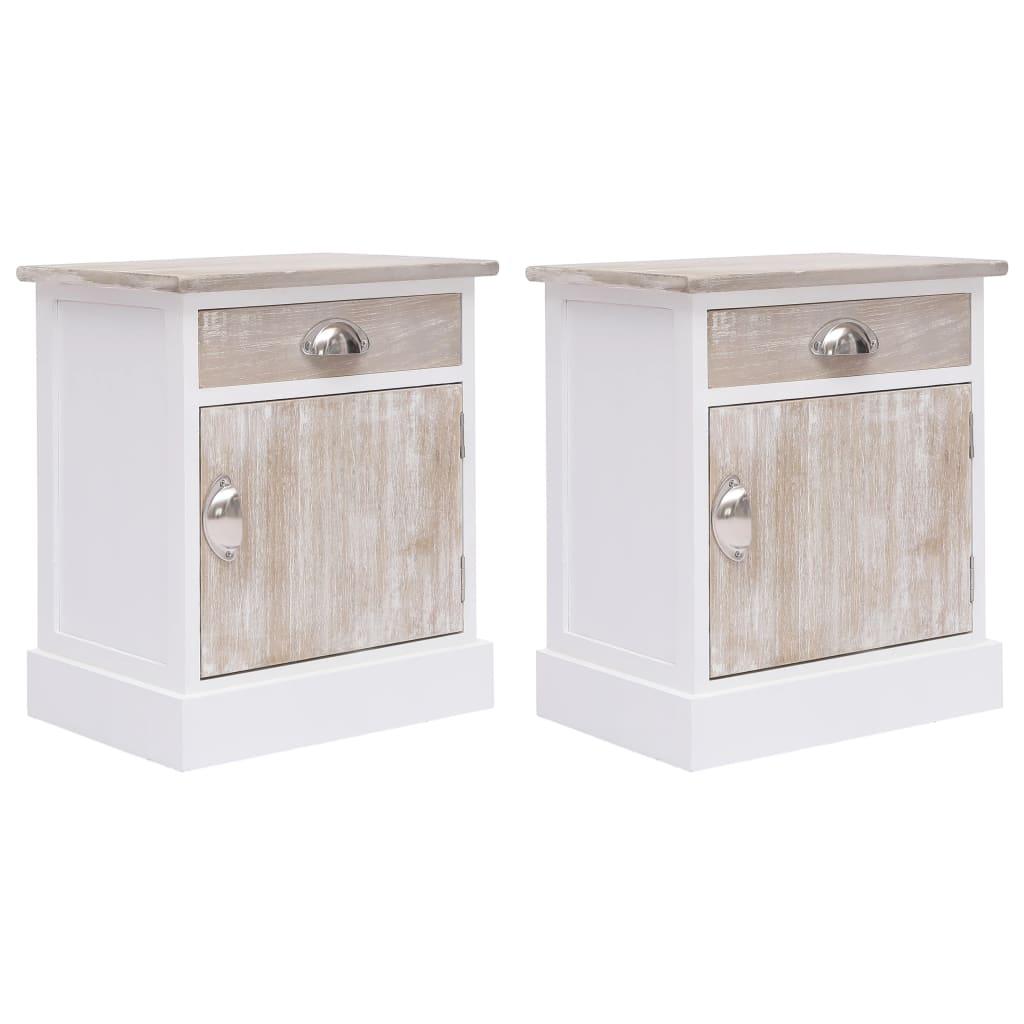 vidaXL Nočné stolíky 2 ks, biele 38x28x45 cm, drevo paulovnie