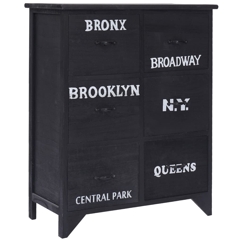 vidaXL Príručná skrinka so 6 zásuvkami čierna 60x30x75 cm drevo paulovnie