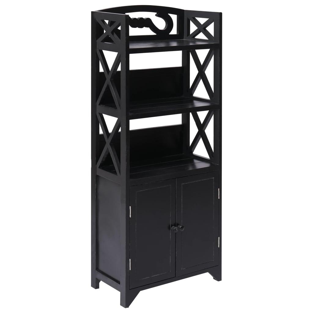 vidaXL Kúpeľňová skrinka čierna 46x24x116 cm drevo paulovnia