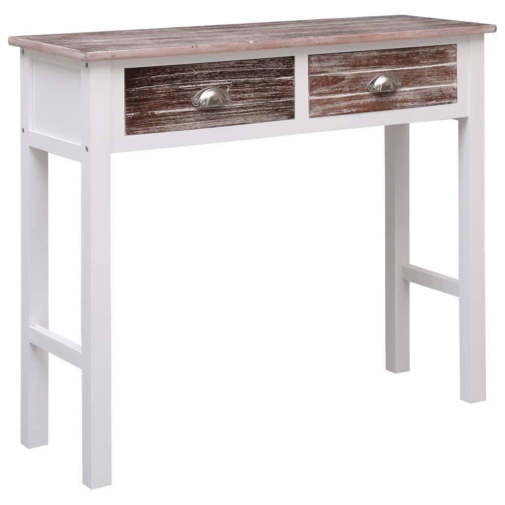 vidaXL Konzolový stolík hnedý 90x30x77 cm drevený