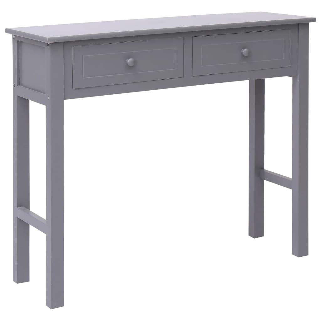 vidaXL Konzolový stolík sivý 90x30x77 cm drevený