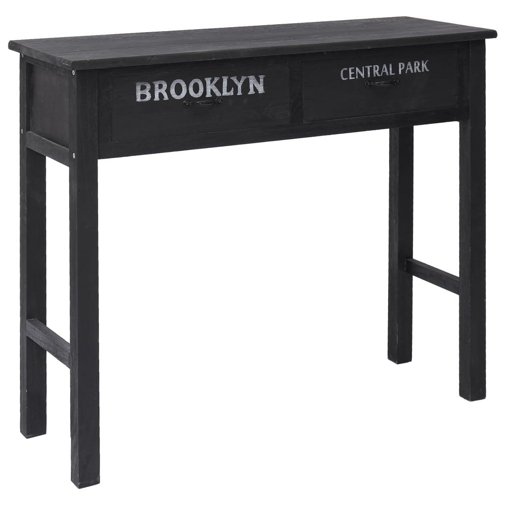 vidaXL Konzolový stolík čierny 90x30x77 cm drevený