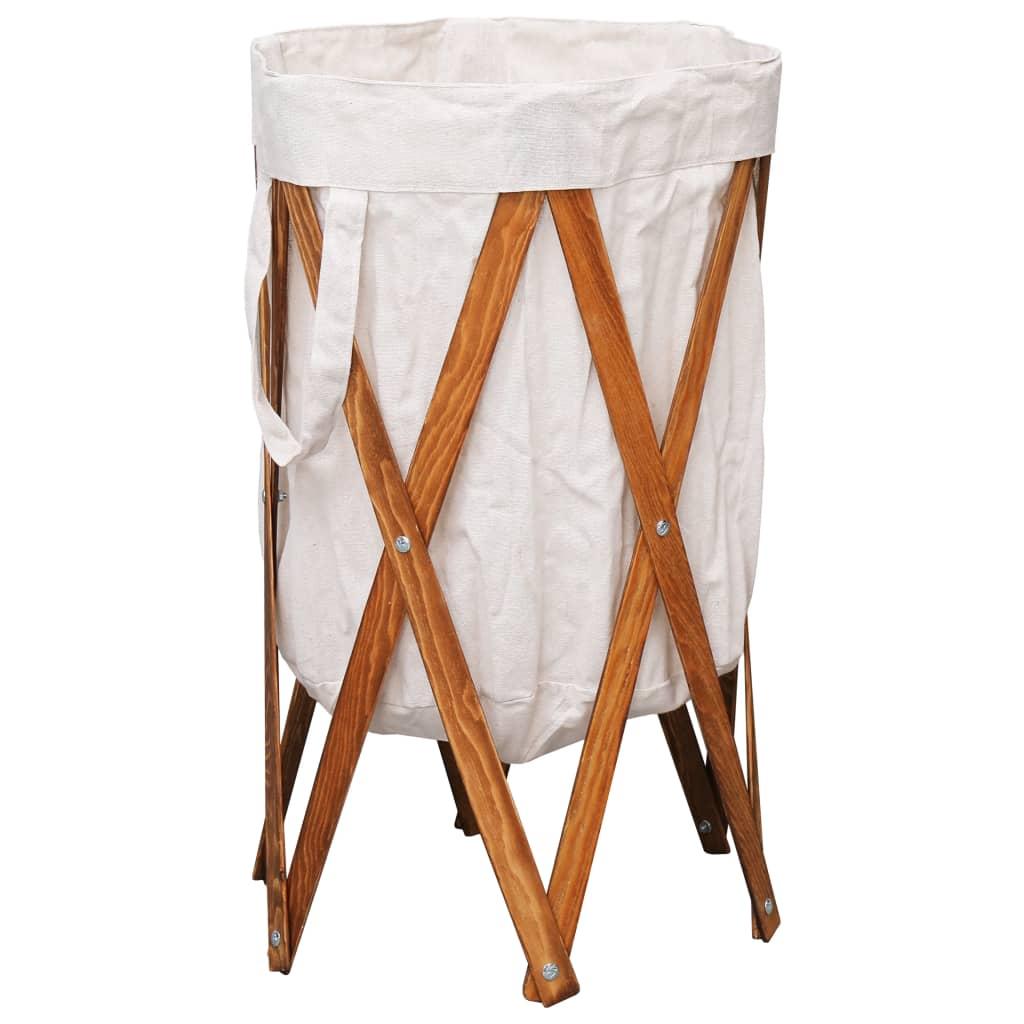 vidaXL Skladací kôš na bielizeň krémový drevo a látka