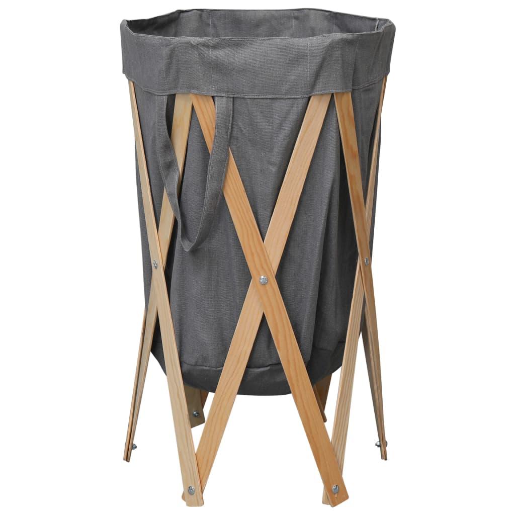 vidaXL Skladací kôš na bielizeň sivý drevo a látka
