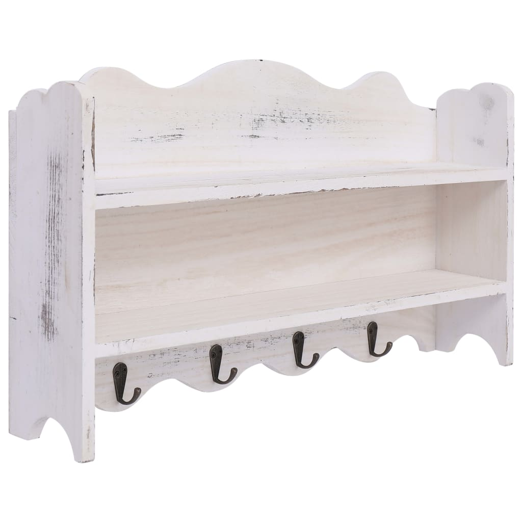 vidaXL Nástenný vešiak biely 50x10x30 cm drevený