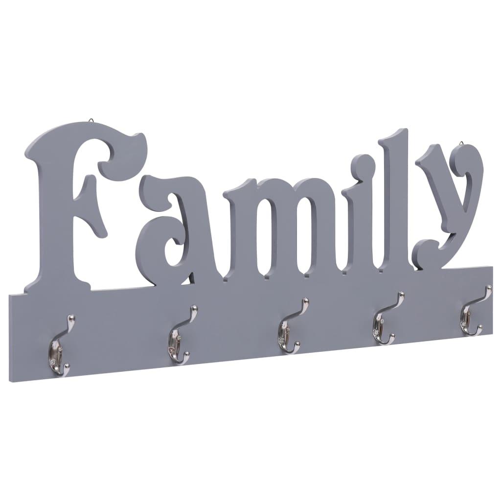 vidaXL Nástenný vešiak FAMILY sivý 74x29,5 cm